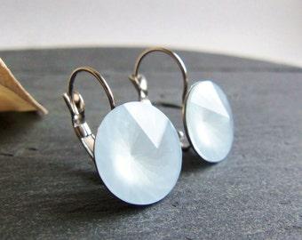 Blue crystal earrings, Swarovski crystal earrings, surgical steel earrings, 14mm pale blue, leverback single large crystal pastel blue
