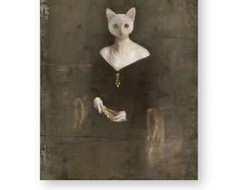 "Cat Art Print White Cat Animal Art Anthropomorphic Animals In Clothes Gothic Home Decor Creepy Art Mixed Media Collage (3 sizes) ""Morinda"""