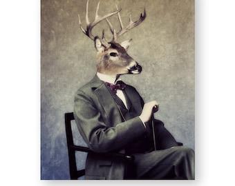 "Deer Art Print Animal Art Animals In Clothes Cabin Camp Decor Anthropomorphic Woodland Man Cave Decor, (3 Sizes) ""Buck"""