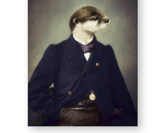 Otter Art Print Animal Art Quirky Gift Nursery Art Animals In Clothes Photography Collage - 3 sizes available  (002)