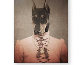 "Doberman Art Print, Doberman Pinscher, Anthropomorphic, Digital Mixed Media Collage, Fun Animal Art, (3 Sizes Available) ""Gretta"""