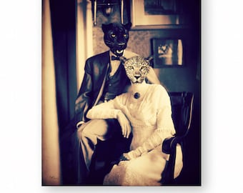 """Cat Art Leopard Black Panther Animals In Clothes Anthropomorphic Wall Art Victorian Animal Photography (2 Sizes) """"Dressed For Dinner"""""""