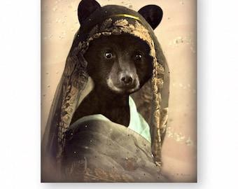 "Bear Art Print, Black Bear, Mixed Media Collage, Anthropomorphic, Woodland Decor, Wall Decor, Unique, Animal Art, (3 Sizes) ""Veiled Viola"""