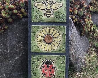 Flowers / Honey Bee / Sunflower / Ladybug / Outdoor Wall Art / Garden Totem / Ceramic & Concrete Tile / Garden Wall Sculpture