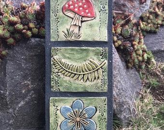 Mushroom / Toadstool / Fern / Blue Flower / Outdoor Wall Art / Garden Totem / Ceramic & Concrete Tile / Garden Decoration
