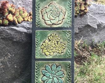 Succulents / Sedums / Outdoor Wall Art / Garden Totem / Ceramic & Concrete Tile / Garden Decoration
