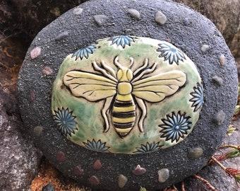 Bee / Honey Bee / Bumble Bee/ Ceramic and Concrete Garden Rock / Outdoor / Garden Decoration
