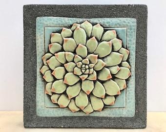 Succulent / Ceramic & Concrete Tile / Outdoor Wall Art / Garden Decoration