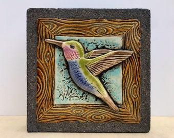 Hummingbird Garden Art / Ceramic & Concrete Tile / Outdoor Wall Art / Wall Sculpture