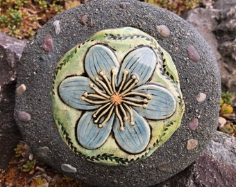 Blue Anemone Flower / Ceramic and Concrete Garden Stone Rock / Outdoor / Garden Decoration