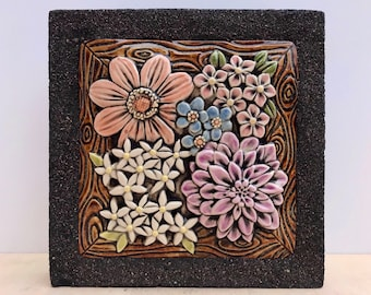 Dahlias, Forget-Me-Nots and Wild Flowers set off in a Wood Frame / Ceramic and Concrete Tile / Indoor or Outdoor Wall Art