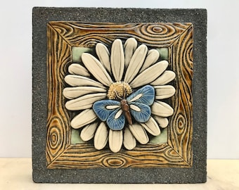 Blue Butterfly / White Daisy / Ceramic & Concrete Tile / Outdoor / Ready to Hang / Garden Decoration