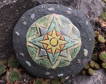 Compass Rose Ceramic and Concrete Garden Stone Rock / Outdoor / Garden Decoration