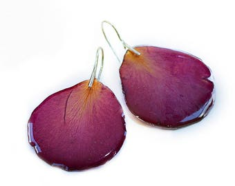 Red rose petal earrings Clear resin earrings with real dried rose petals and silver plated hooks Real flower earrings