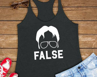 Dwight False | Funny Gift Ideas For Dunder Mifflin Office, Dwight Schrute - Women Ladies Triblend Workout Tank Top, Yoga Tan