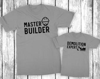 Master Builder Demolition Expert - Father Son Matching Shirt Set - Construction Worker, Contractor, Baby Shower Gift  - Unisex Shirts