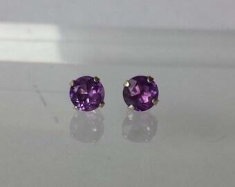 Sterling Silver 925 Stud Earrings 5 mm Natural Purple Amethyst NEW .80 tcw