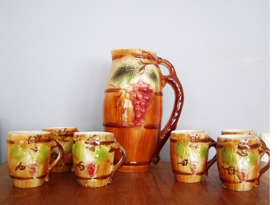 Vintage wine serving set, ceramic vintage, barrel shaped pitcher with six wine mugs, early sixties