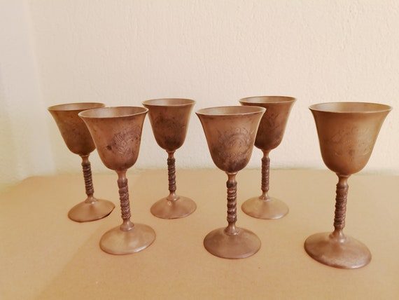 Vintage brass goblets, handmade liqueur goblets, brass drinking goblets, rustic barware and decor, set of six, early sixties