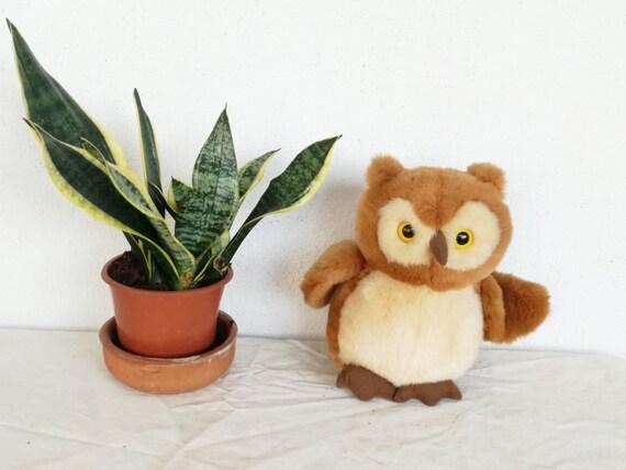 Vintage stuffed owl, plush owl toy, vintage brown owl with large, yellow black eyes, vintage plush toy, very smooth plush owl, mid eighties