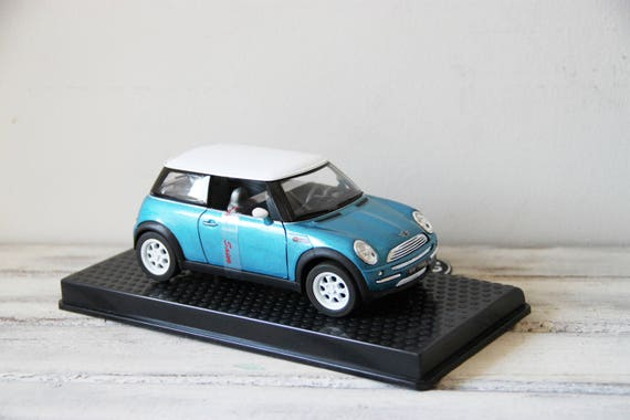 Vintage Mini Cooper miniature toy, collectible Mini Cooper replica, white and blue Mini Cooper miniature, mint condition, 2001 made