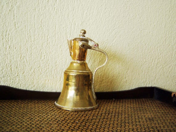 Vintage brass pitcher, brass copper lidded jug, small brass pot with spout and lid, Greek folk art, Greek brass antiques, early 20's