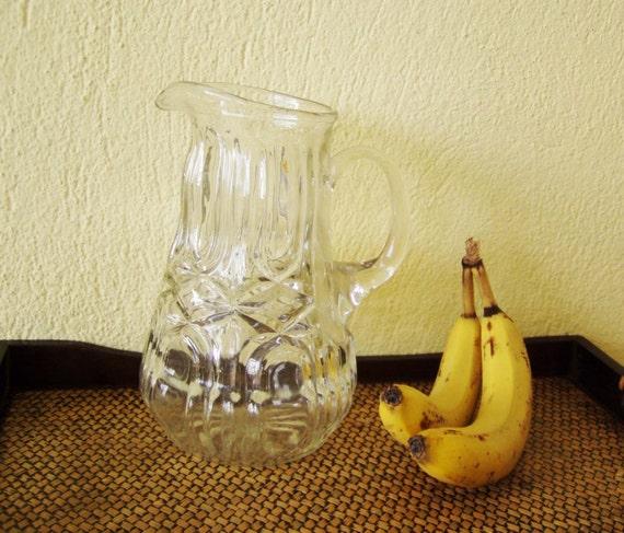 Vintage glass pitcher, clear glass vintage jug, pressed glass pitcher, classic form glass pithcher, late sixties, Greek glass jug