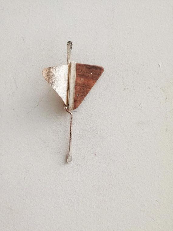 Triangle sterling brooch , Greek handmade brooch o