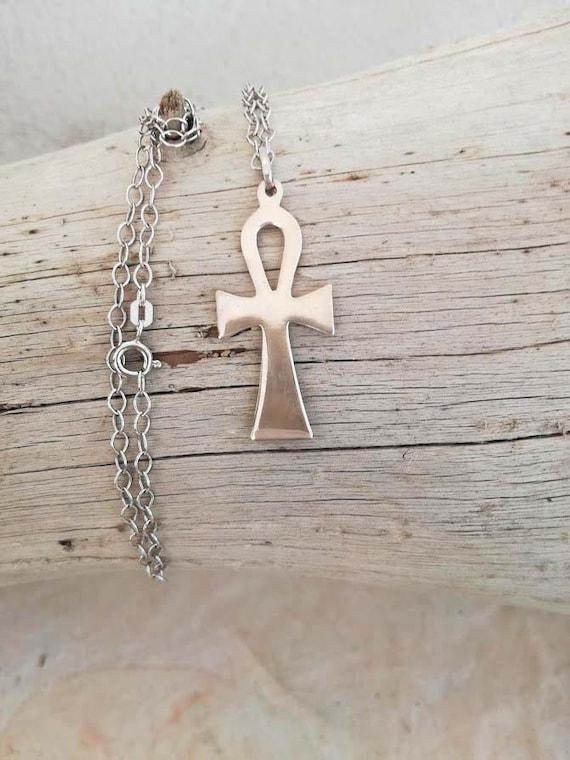 Vintage Egyptian cross necklace, Egyptian cross pe