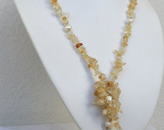 Natural Citrine necklace November birthstone with freshwater pearls