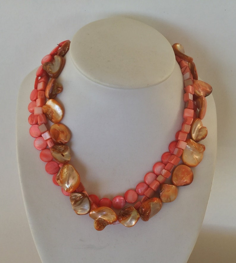 Coral red mother of pearl necklace sterling silver
