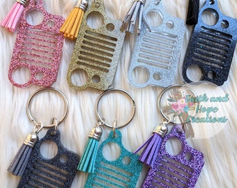 Holographic Jeep grill glitter keychain