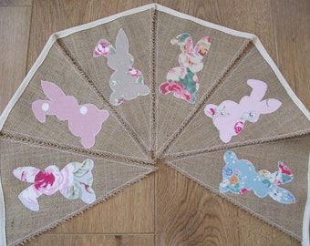 Hessian Burlap Easter Bunting with Rabbits Bunny Appliques in Cath Kidston Cotton Fabric