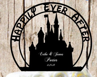 Happily Ever After Princess Castle Wedding Cake Topper - Personalized with First Names Last Name and Event Date - with Optional Ring Box