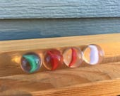 Cat 39 s eye marble green red white glass clear vintage toy game strand four set marbles strand cat vane old crystal catseye single