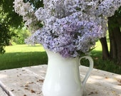 White medium pitcher vintage glass pottery unmarked minimalist basic vase ironstone primitive farm farmhouse water jug gravy shabby chic