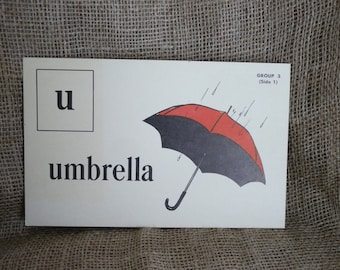 Picture Phonics Reading Flash Card Visual Umbrella rain red spring Duck Ephemera Schoolcraft Kensworthy Education Antique large flashcard