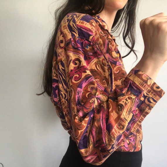 Vintage Button Down with Wildly fun Pattern