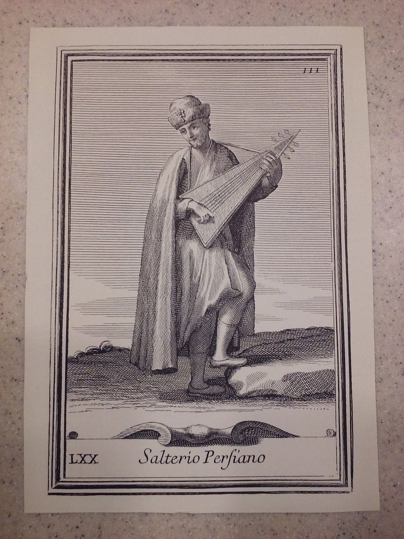 Plate 70 Arnold van Westerhout Salterio Persiano Psaltery Player The Gabinetto Armonico Original Copper Engraving