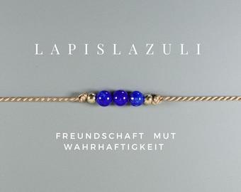 Lapis lazuli bracelet, talisman, yoga, fine bracelet, silk ribbon, filigree, delicate, 3 balls