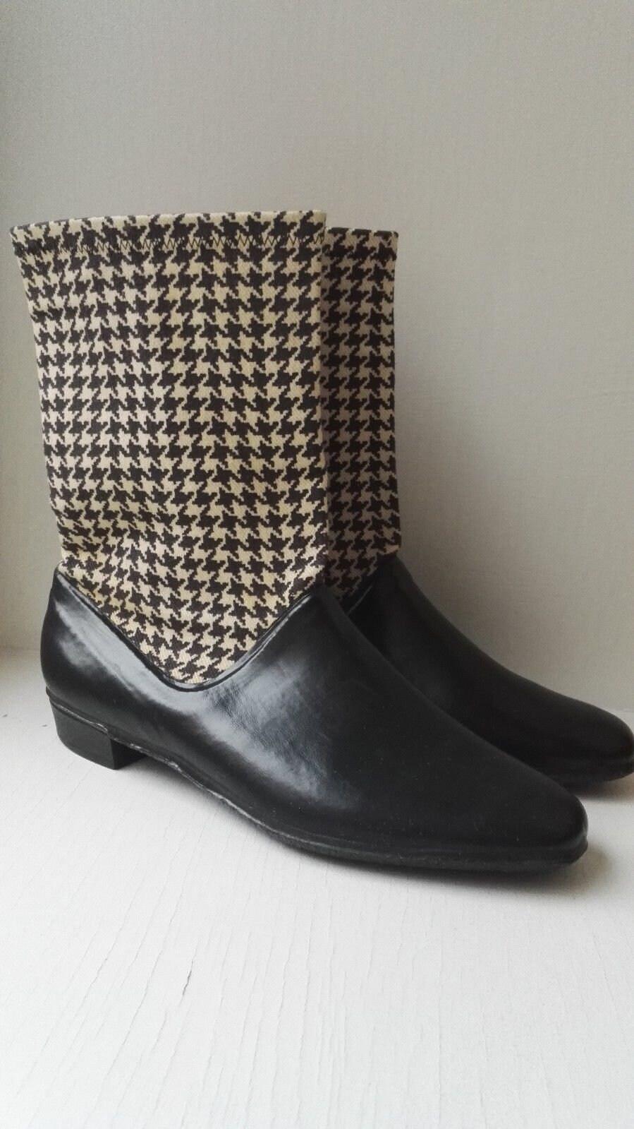60s Vintage Tretorn Rain Rubber Boots Black White Fabric