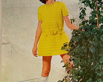 "Original Patons 1970's Girls Crochet Dress Pattern. Vintage Crochet Pattern For Girls. Crochet Dress Pattern Sizes 22""-28"" for Girls."