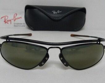 f0a033a511 New Vintage B L Ray Ban Inertia Black Gold Mirror W2392 Wrap Sunglasses USA