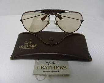c9a53d4c77 New Vintage B L Ray Ban Outdoorsman Leathers Woven Ebony Brown Changeable  58mm Photocromatic Sunglasses USA