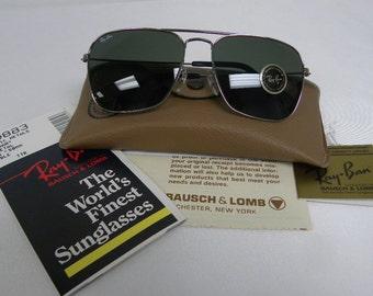 277b1304da New Vintage B L Ray Ban Caravan Gunmetal G-15 W0883 58mm Square Sunglasses  USA