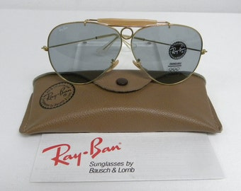 5b866ac681 New Vintage B L Ray Ban Shooter Gold Changeable Gray Blue 62mm Aviator  Outdoorsman Sunglasses USA