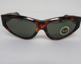 78d92ad961 New Vintage B L Ray Ban Onyx Style 1 Dark Tortoise W0789 Cat Eye Sunglasses  nos
