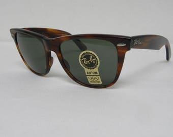 48f1c80b84 New Vintage B L Ray Ban Wayfarer II Mock Tortoise G-15 54mm L1725 Sunglasses  USA NOS