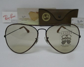 2a797a7f96 New Vintage B L Ray Ban Large Metal II Leathers Woven W0373 Black Brown  Changeable Brown Lenses 62mm Sunglasses USA