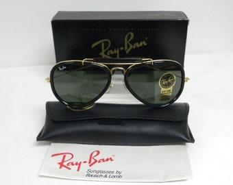 ea069fb920 New Vintage B&L Ray Ban Traditionals Style G Arista Gold Ebony Black G-15  Gray Outdoorsman Aviator W0744 Sunglasses USA